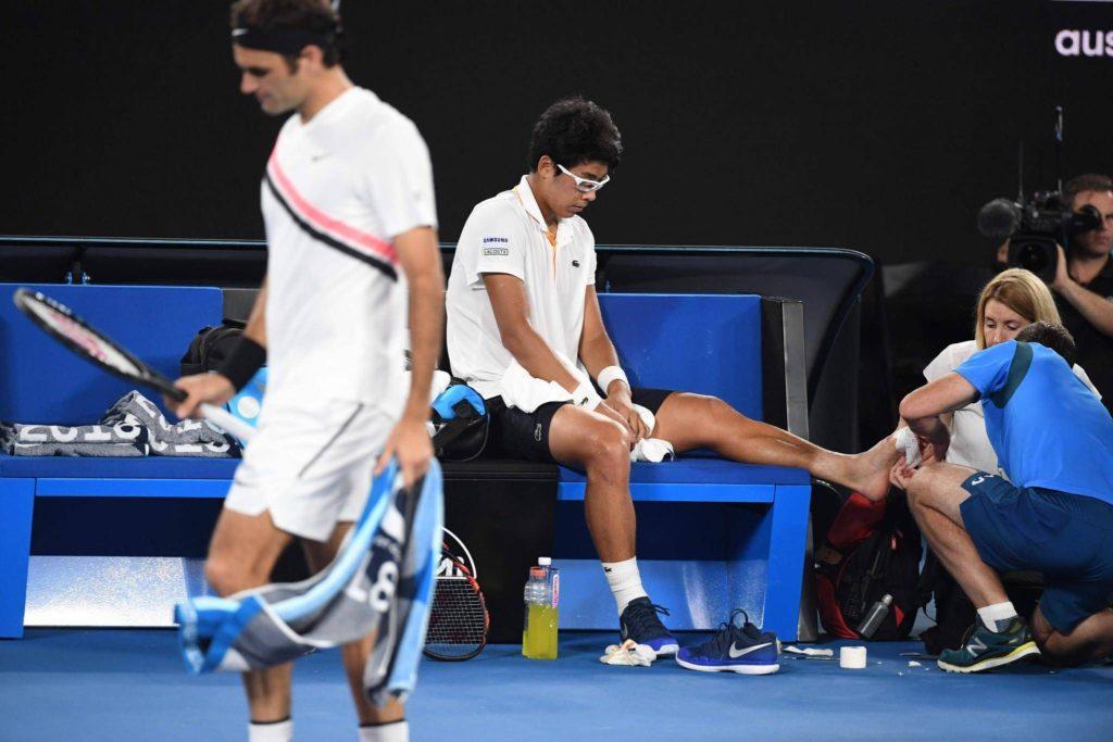 Chung agli Australian Open contro Federer, il suo acme tennistico fin qui.