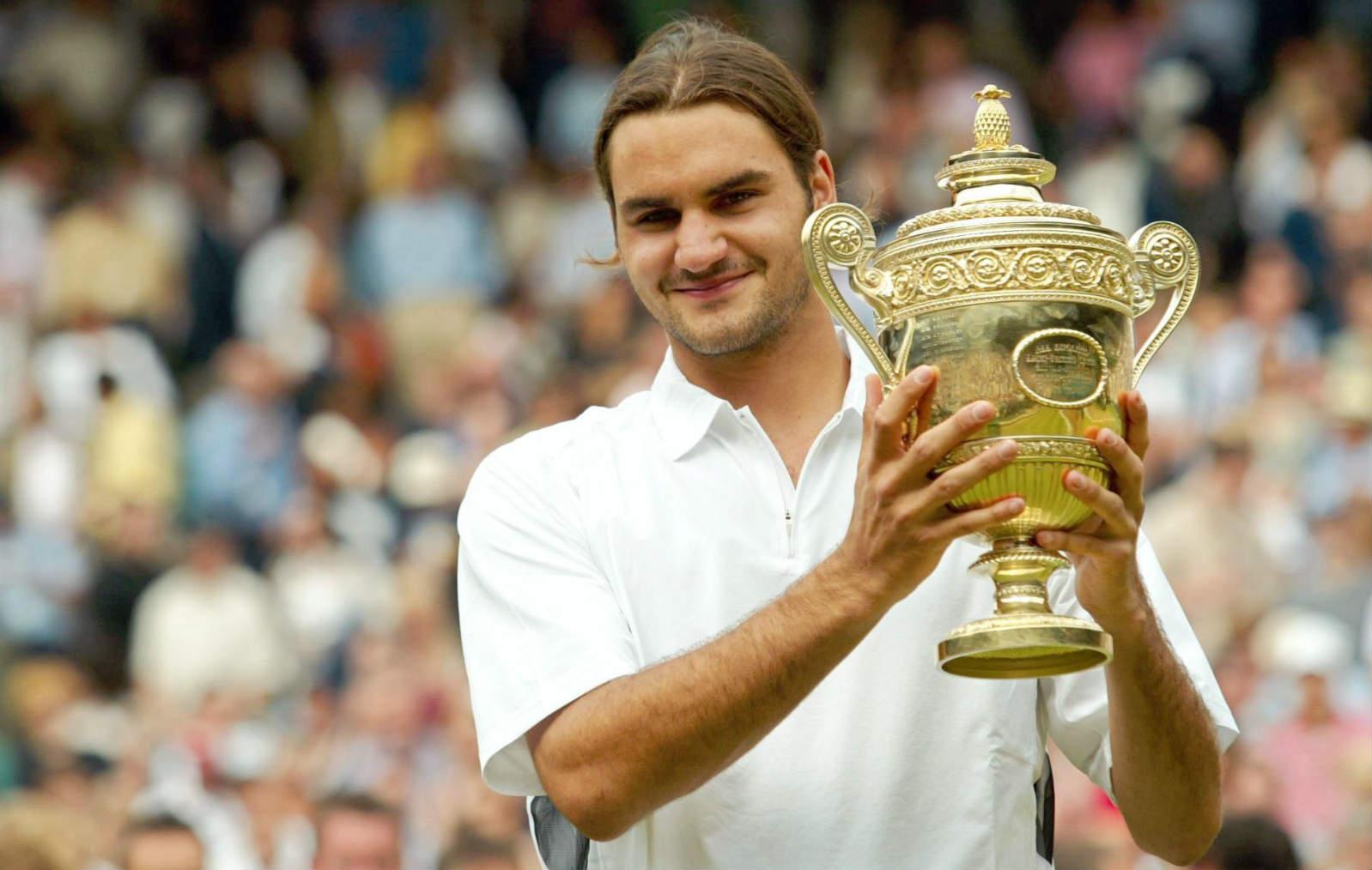 Roger Federer nel 2003: vinse Wimbledon per la prima volta
