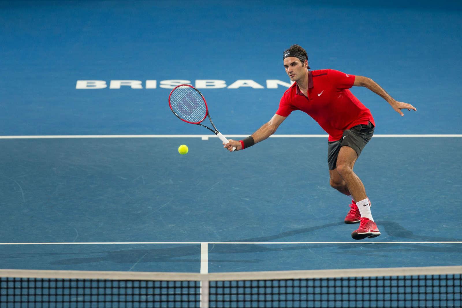 Federer nel 2015, a Brisbane, dove ha toccato quota 1000 partite nell'ATP