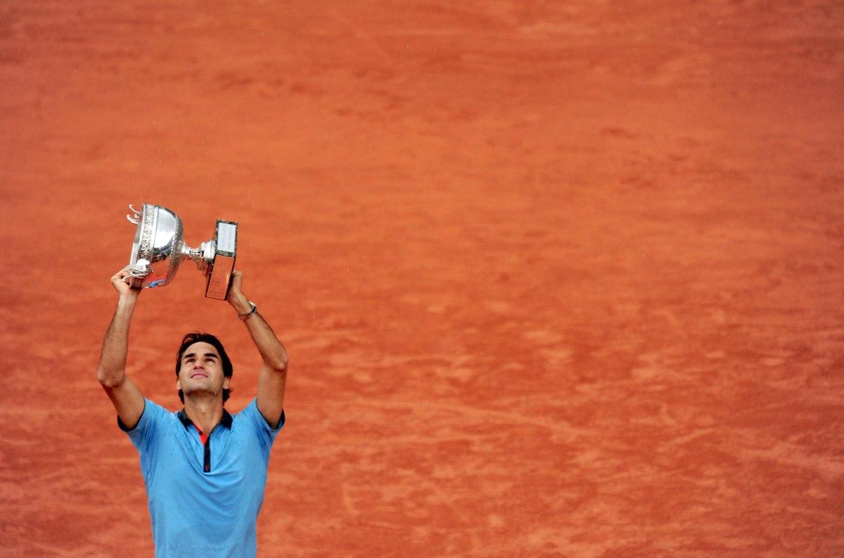 Federer nel 2009 a Parigi, nell'unica volta che ha vinto il Roland Garros